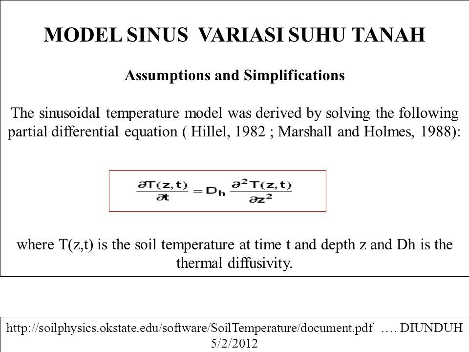 MODEL SINUS VARIASI SUHU TANAH Assumptions and Simplifications