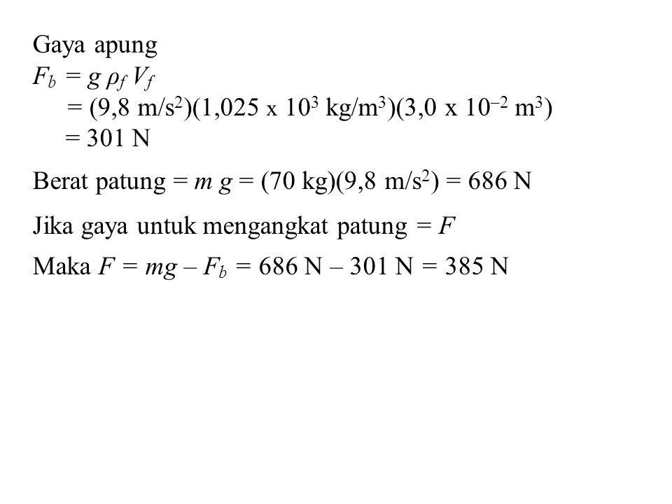 Gaya apung Fb = g ρf Vf. = (9,8 m/s2)(1,025 x 103 kg/m3)(3,0 x 10–2 m3) = 301 N. Berat patung = m g = (70 kg)(9,8 m/s2) = 686 N.