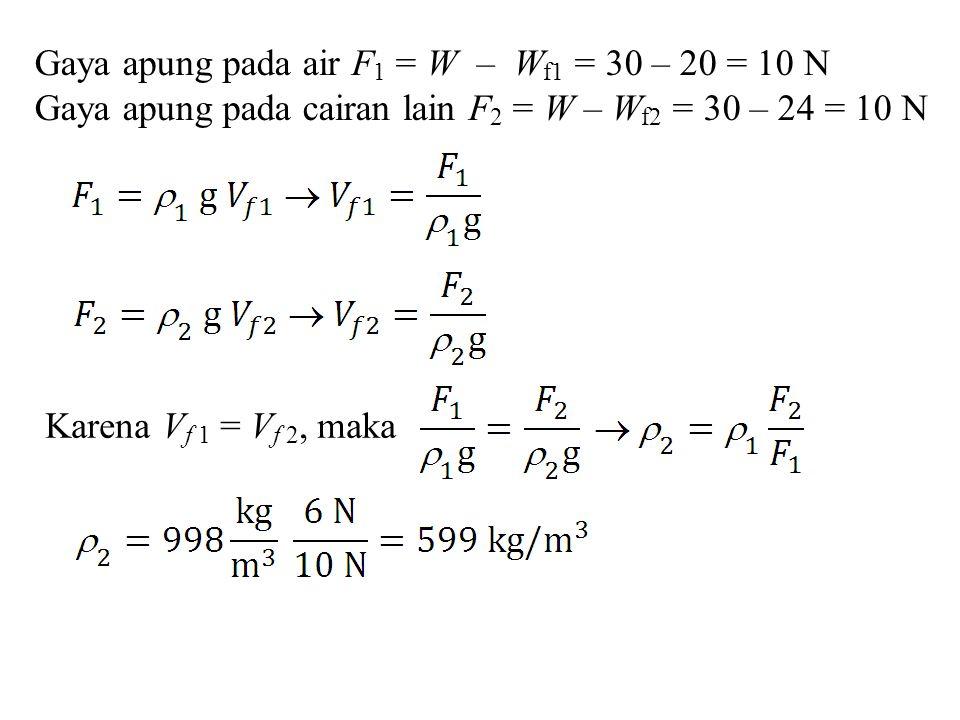 Gaya apung pada air F1 = W – Wf1 = 30 – 20 = 10 N