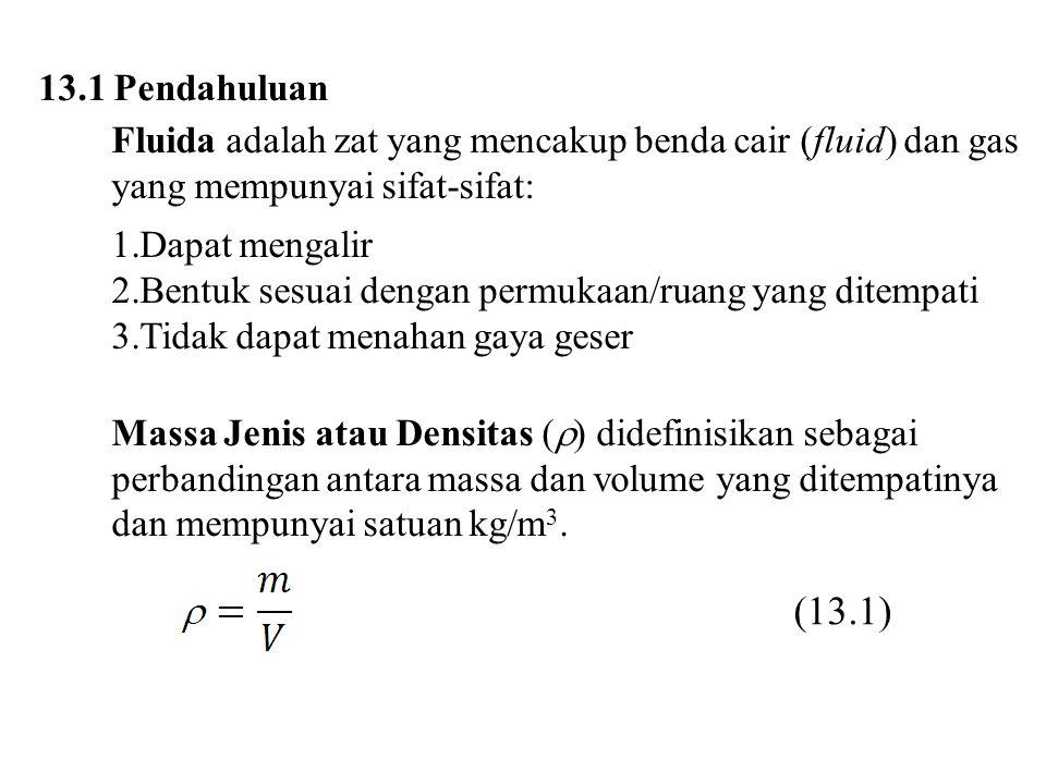 13.1 Pendahuluan Fluida adalah zat yang mencakup benda cair (fluid) dan gas yang mempunyai sifat-sifat: