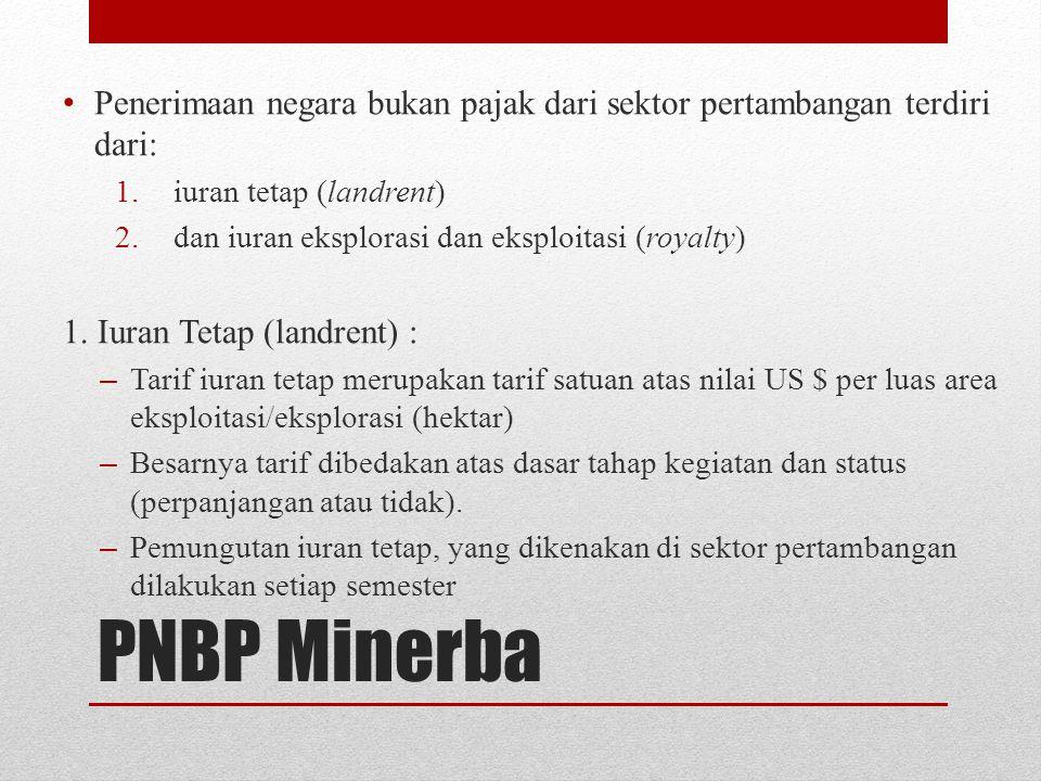 Penerimaan negara bukan pajak dari sektor pertambangan terdiri dari: