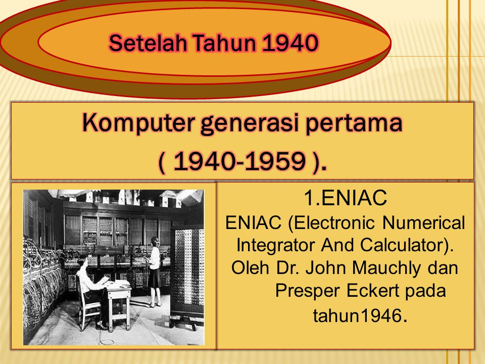 Komputer generasi pertama ( 1940-1959 ).