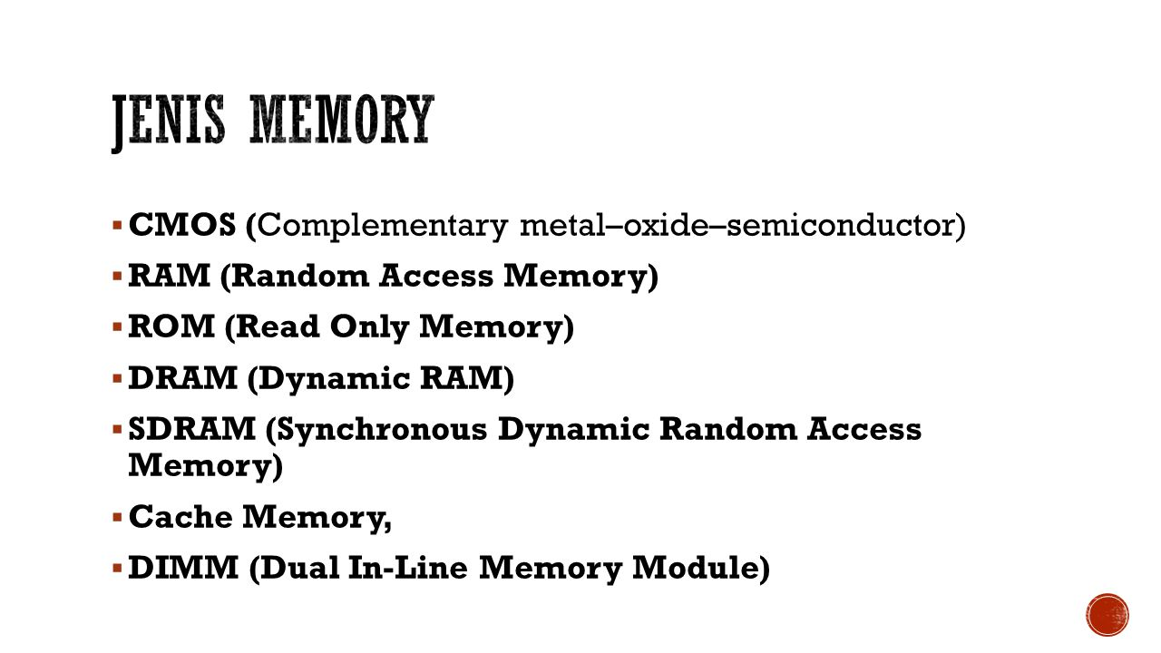 Jenis Memory CMOS (Complementary metal–oxide–semiconductor)