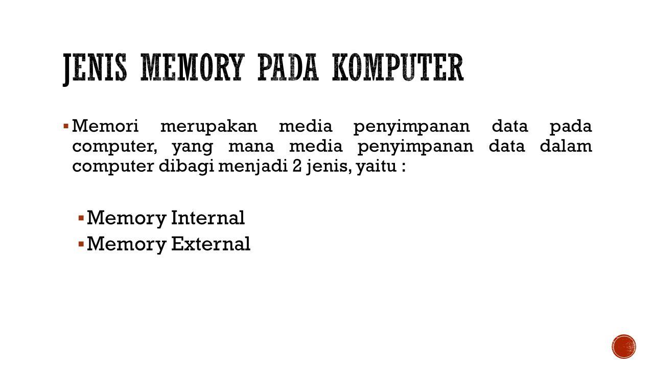 Jenis Memory Pada komputer