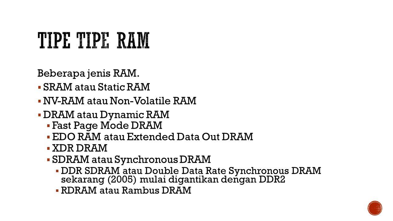 Tipe Tipe RAm Beberapa jenis RAM. SRAM atau Static RAM