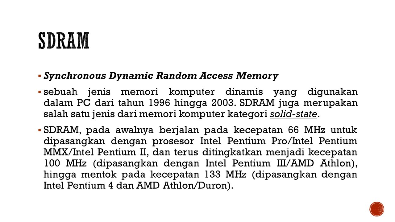 SDRAM Synchronous Dynamic Random Access Memory