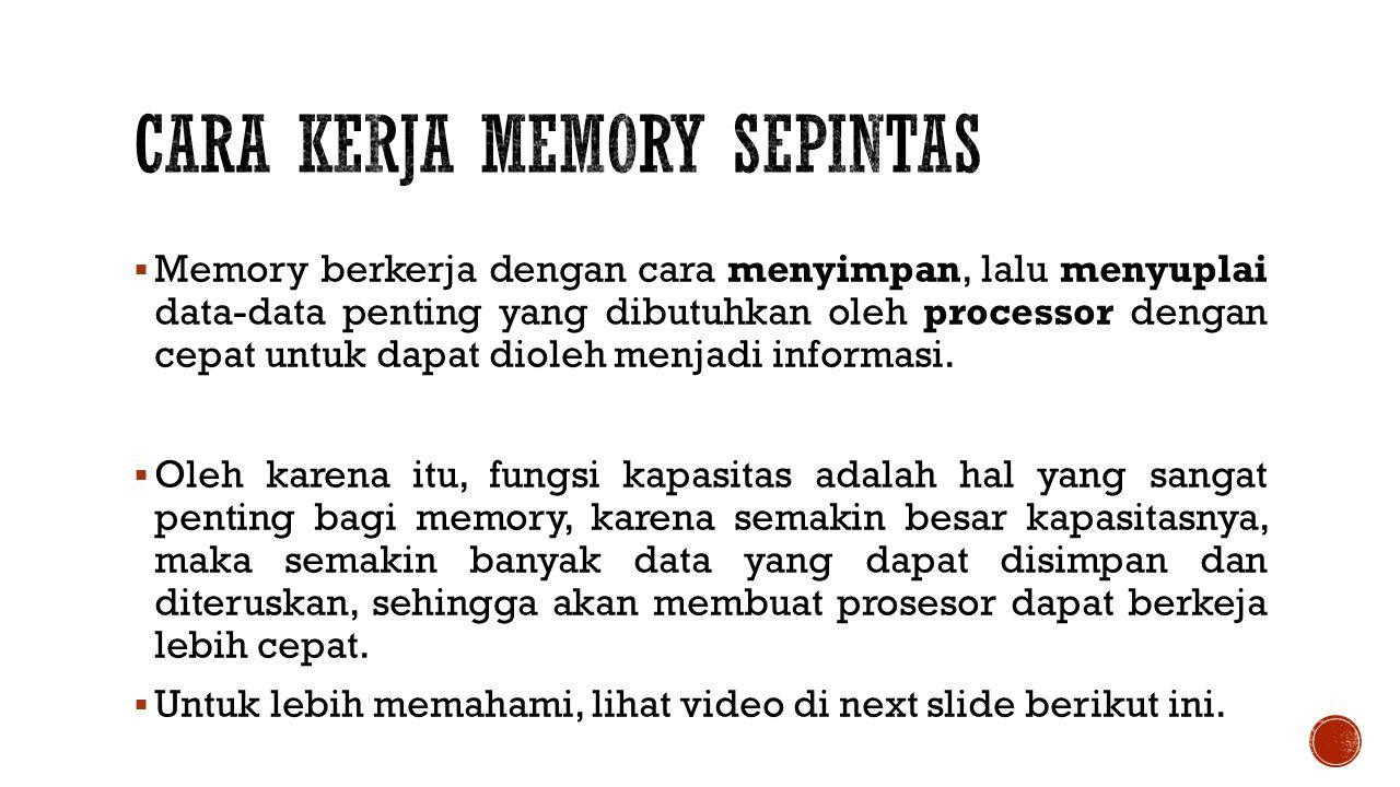 Cara Kerja Memory Sepintas