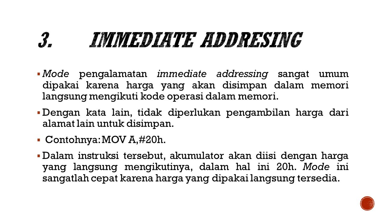 3. Immediate Addresing