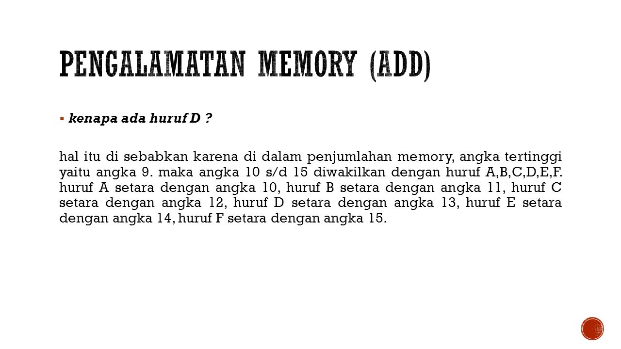 Pengalamatan Memory (Add)