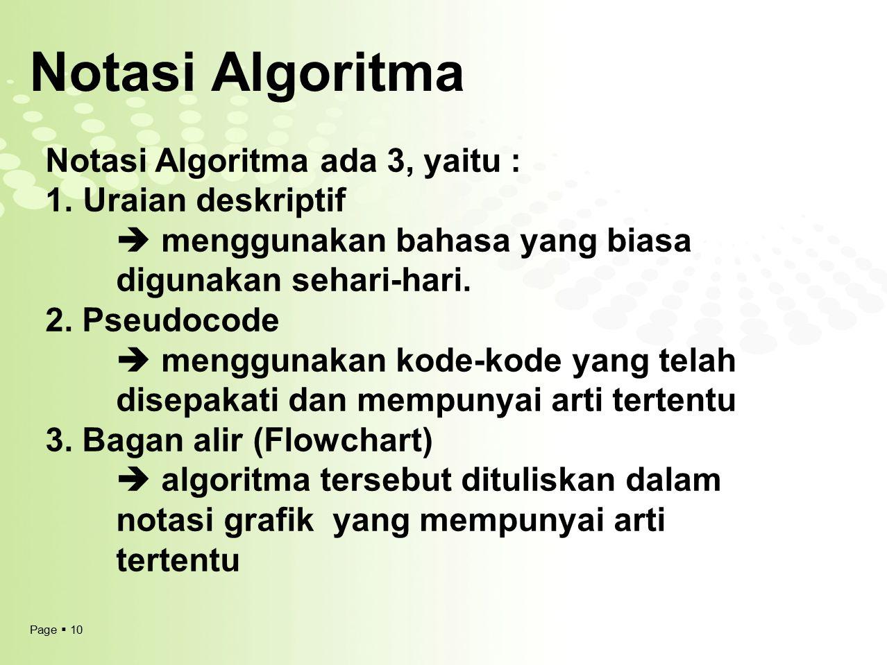 Notasi Algoritma Notasi Algoritma ada 3, yaitu : Uraian deskriptif