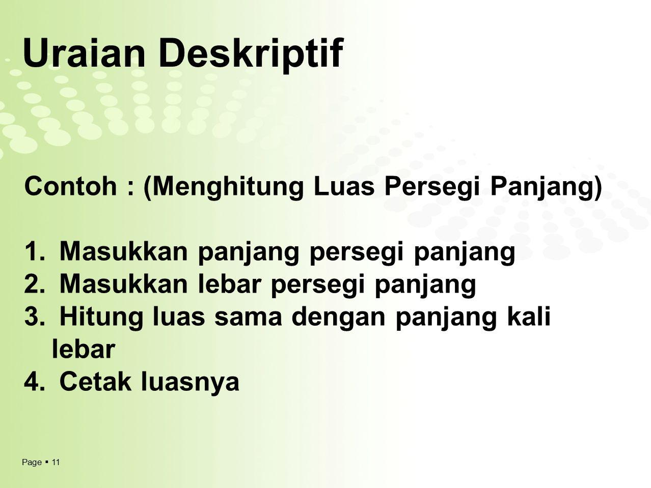 Uraian Deskriptif Contoh : (Menghitung Luas Persegi Panjang)