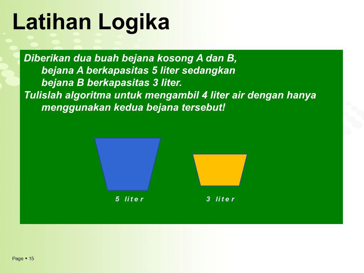 Latihan Logika Diberikan dua buah bejana kosong A dan B, bejana A berkapasitas 5 liter sedangkan bejana B berkapasitas 3 liter.