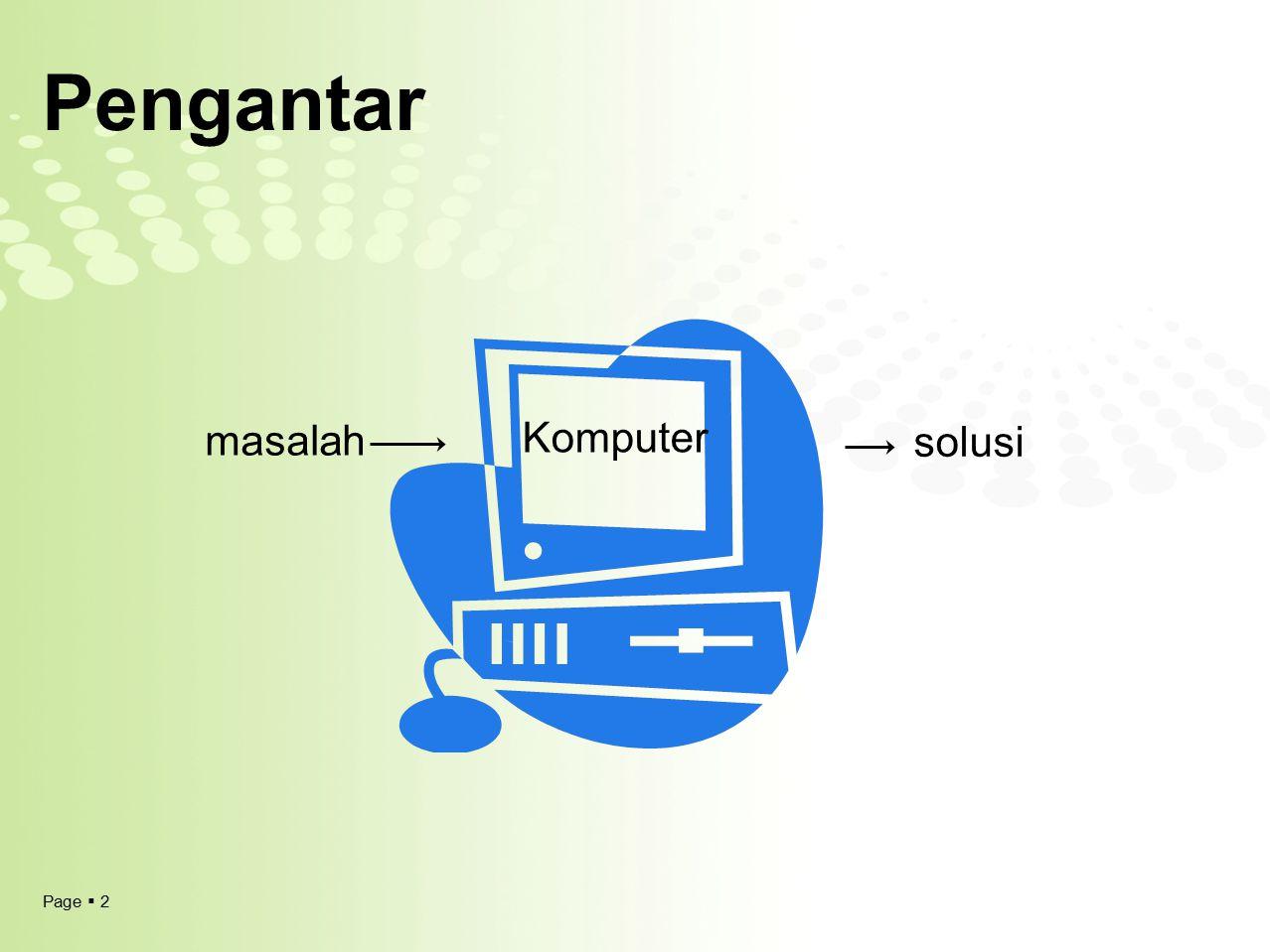 Pengantar masalah Komputer solusi