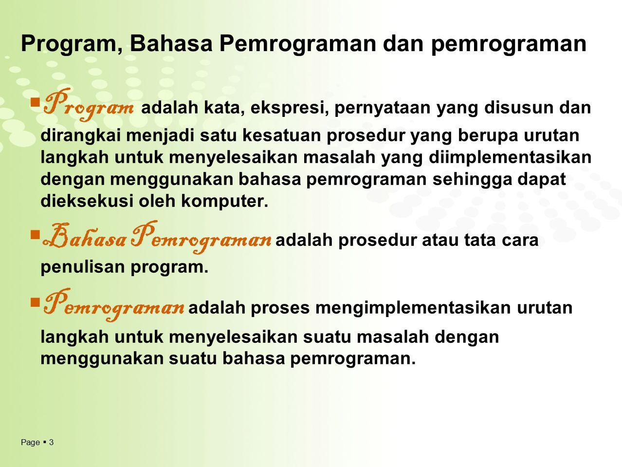 Program, Bahasa Pemrograman dan pemrograman