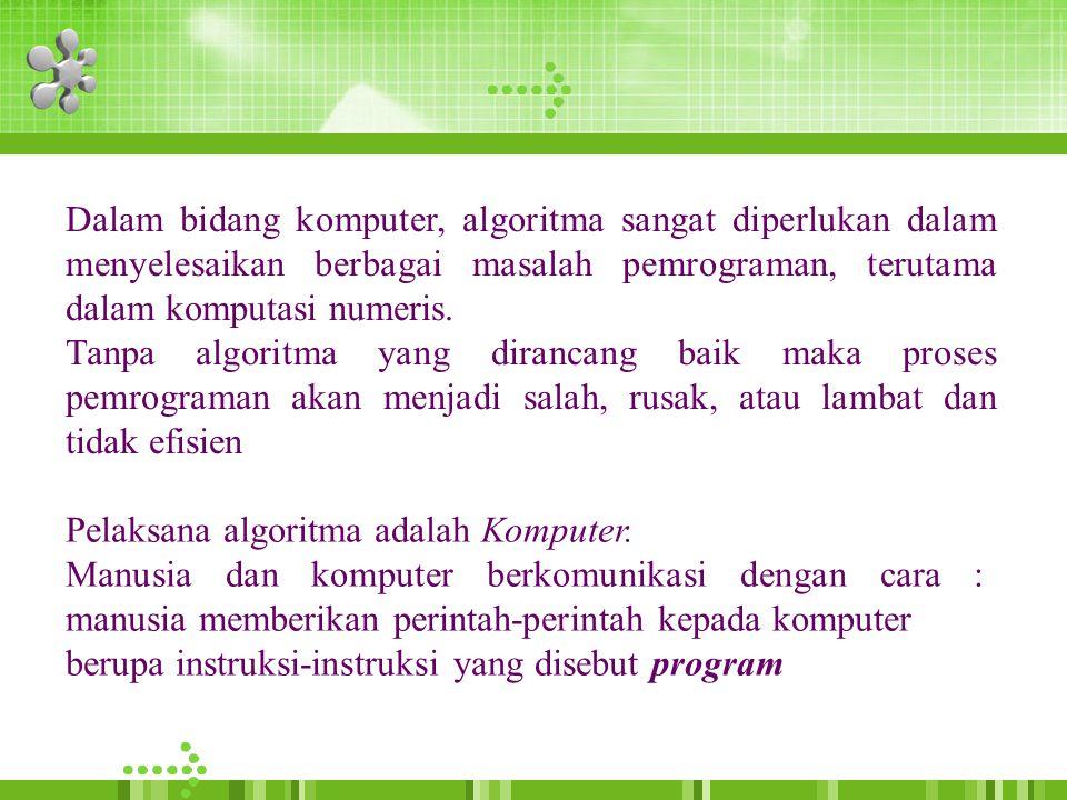 Dalam bidang komputer, algoritma sangat diperlukan dalam menyelesaikan berbagai masalah pemrograman, terutama dalam komputasi numeris.
