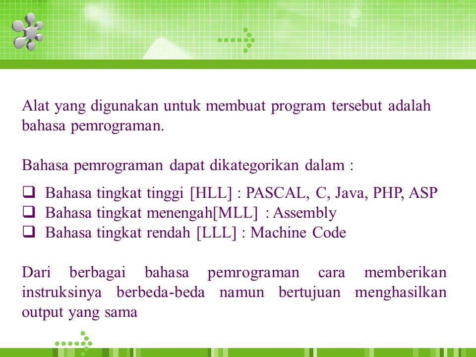 Alat yang digunakan untuk membuat program tersebut adalah bahasa pemrograman.