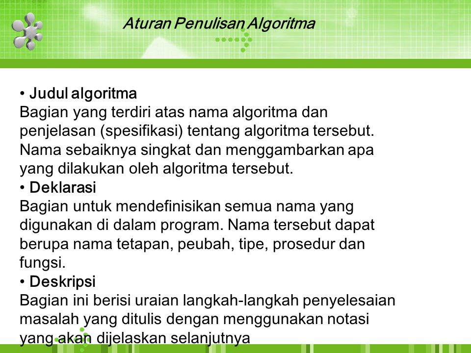 Aturan Penulisan Algoritma