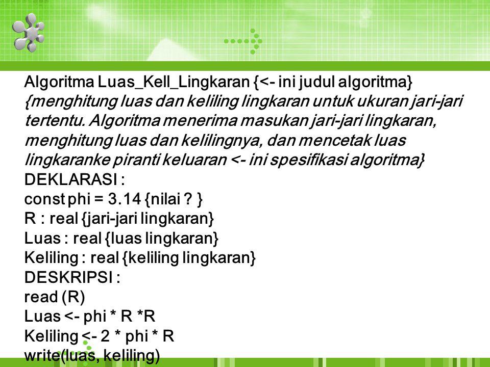 Algoritma Luas_Kell_Lingkaran {<- ini judul algoritma}