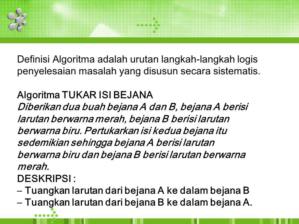 Definisi Algoritma adalah urutan langkah-langkah logis