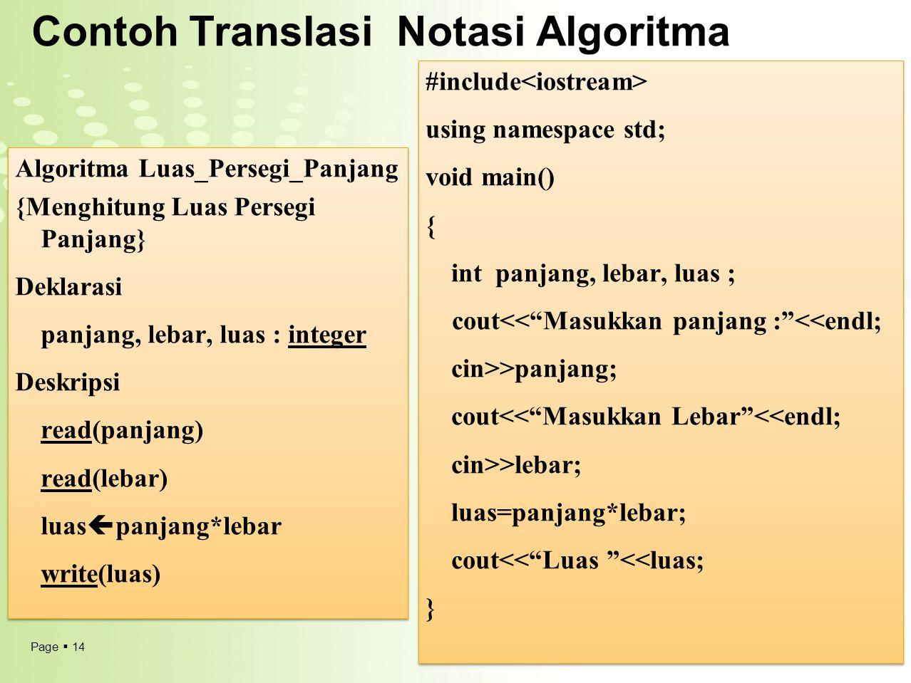 Contoh Translasi Notasi Algoritma