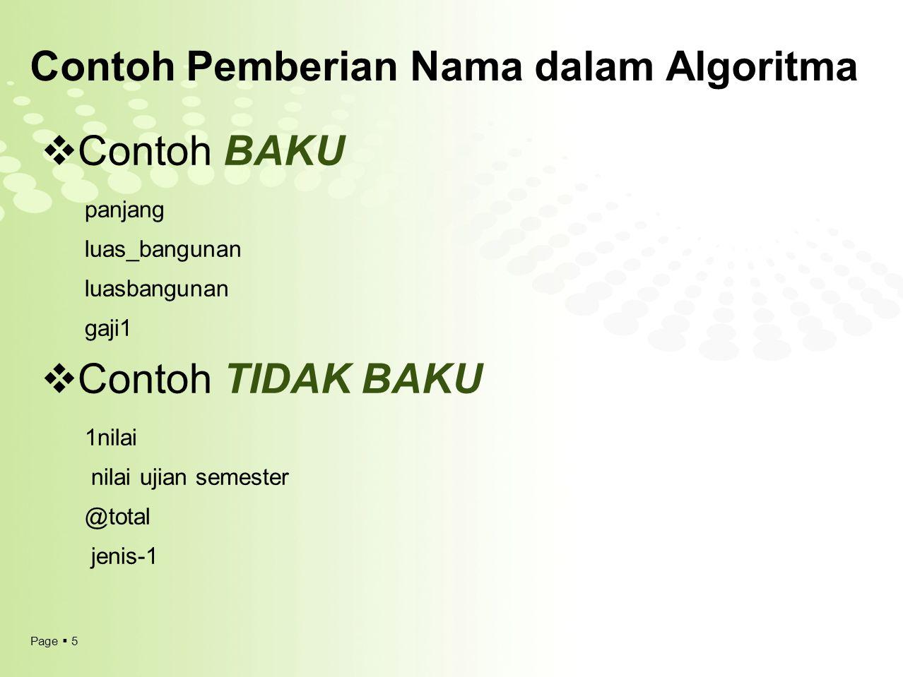 Contoh Pemberian Nama dalam Algoritma