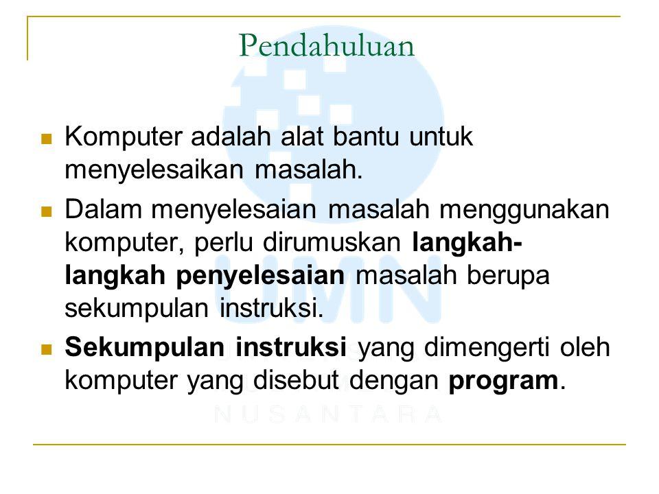 Pendahuluan Komputer adalah alat bantu untuk menyelesaikan masalah.