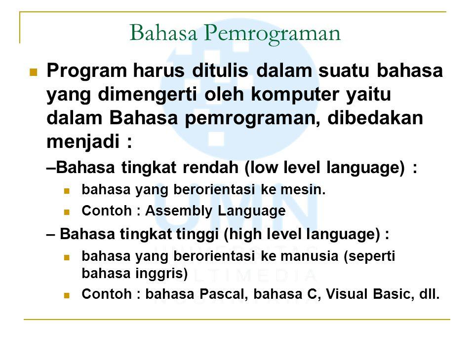 Bahasa Pemrograman Program harus ditulis dalam suatu bahasa yang dimengerti oleh komputer yaitu dalam Bahasa pemrograman, dibedakan menjadi :