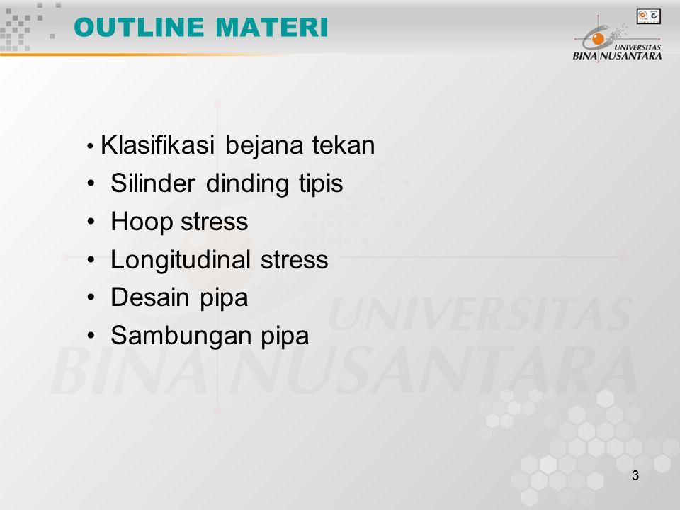 Silinder dinding tipis Hoop stress Longitudinal stress Desain pipa