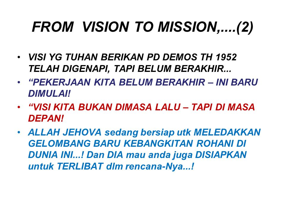 FROM VISION TO MISSION,....(2)