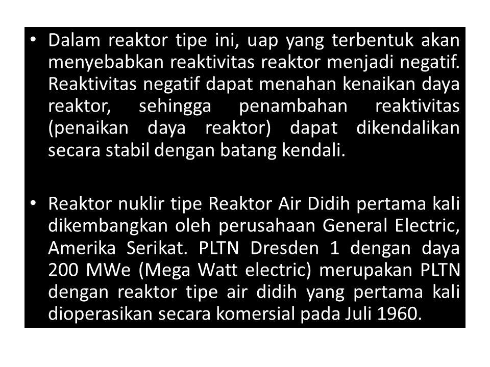 Dalam reaktor tipe ini, uap yang terbentuk akan menyebabkan reaktivitas reaktor menjadi negatif. Reaktivitas negatif dapat menahan kenaikan daya reaktor, sehingga penambahan reaktivitas (penaikan daya reaktor) dapat dikendalikan secara stabil dengan batang kendali.