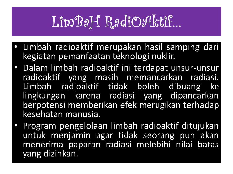 LimBaH RadiOAktif… Limbah radioaktif merupakan hasil samping dari kegiatan pemanfaatan teknologi nuklir.
