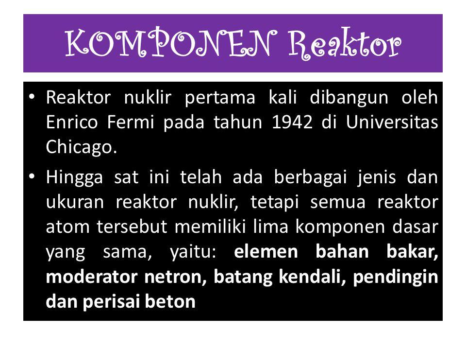 KOMPONEN Reaktor Reaktor nuklir pertama kali dibangun oleh Enrico Fermi pada tahun 1942 di Universitas Chicago.