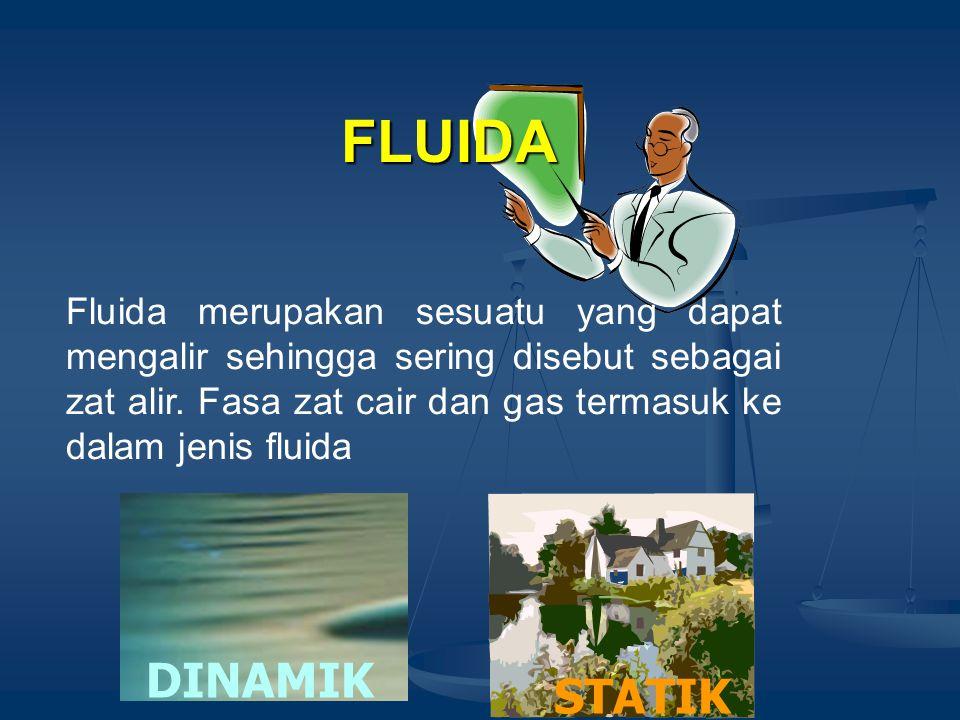 FLUIDA Fluida merupakan sesuatu yang dapat mengalir sehingga sering disebut sebagai zat alir. Fasa zat cair dan gas termasuk ke dalam jenis fluida.