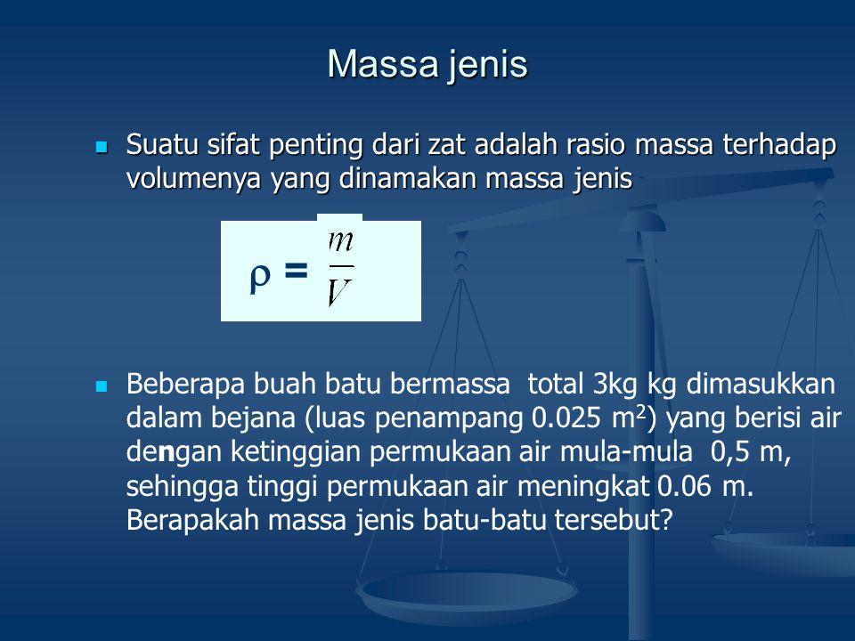 Massa jenis Suatu sifat penting dari zat adalah rasio massa terhadap volumenya yang dinamakan massa jenis.