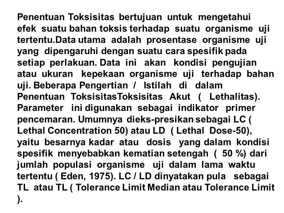 Penentuan Toksisitas bertujuan untuk mengetahui efek suatu bahan toksis terhadap suatu organisme uji tertentu.Data utama adalah prosentase organisme uji yang dipengaruhi dengan suatu cara spesifik pada setiap perlakuan.