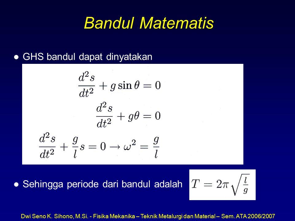 Bandul Matematis GHS bandul dapat dinyatakan