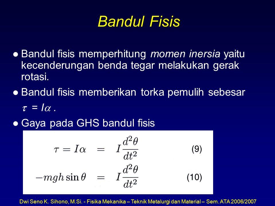 Bandul Fisis Bandul fisis memperhitung momen inersia yaitu kecenderungan benda tegar melakukan gerak rotasi.