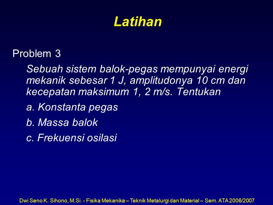 Latihan Problem 3. Sebuah sistem balok-pegas mempunyai energi mekanik sebesar 1 J, amplitudonya 10 cm dan kecepatan maksimum 1, 2 m/s. Tentukan.