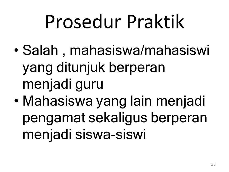 Prosedur Praktik Salah , mahasiswa/mahasiswi yang ditunjuk berperan menjadi guru.