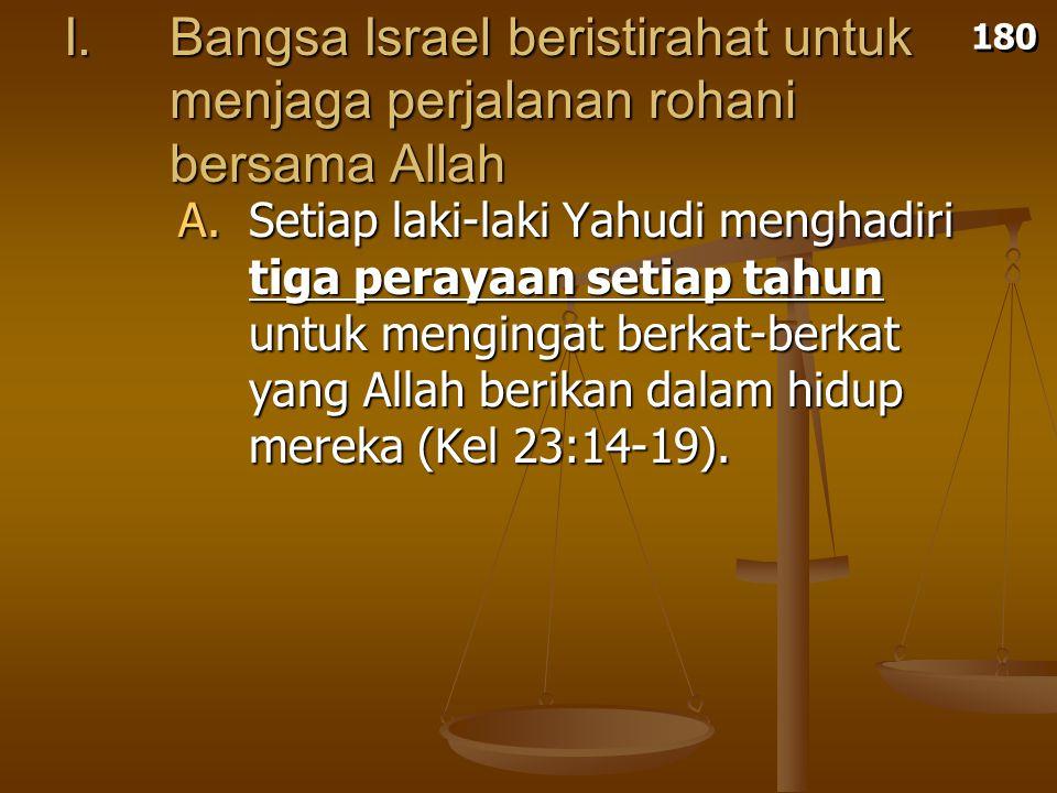 180 I. Bangsa Israel beristirahat untuk menjaga perjalanan rohani bersama Allah.