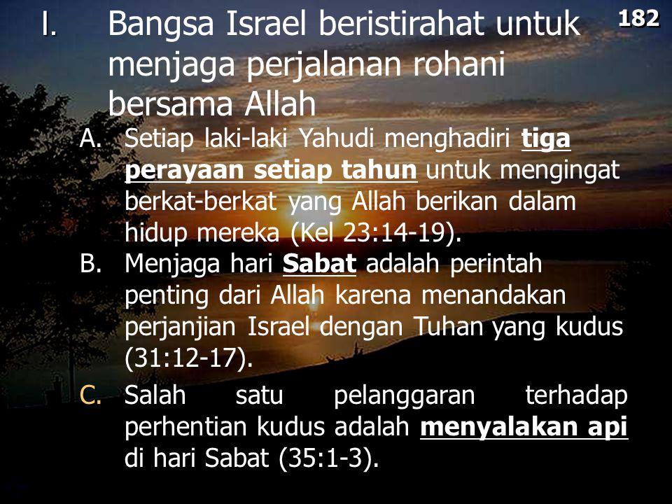 182 I. Bangsa Israel beristirahat untuk menjaga perjalanan rohani bersama Allah.