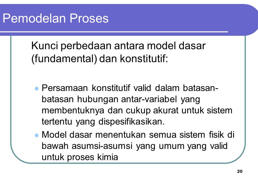 Pemodelan Proses Kunci perbedaan antara model dasar (fundamental) dan konstitutif:
