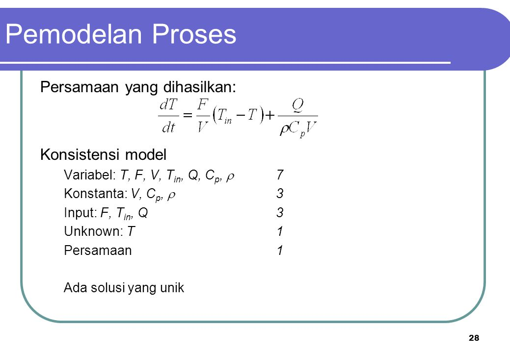 Pemodelan Proses Persamaan yang dihasilkan: Konsistensi model