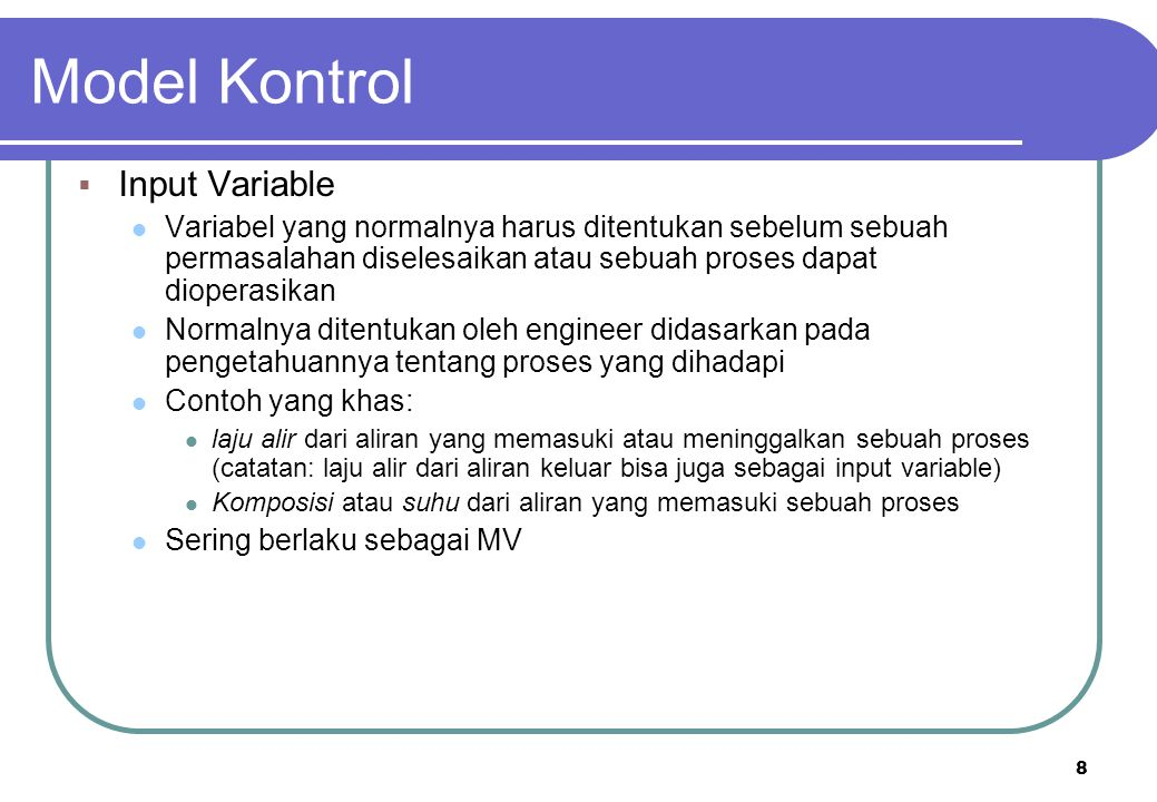 Model Kontrol Input Variable