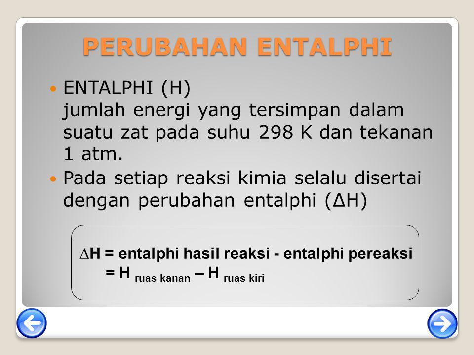 PERUBAHAN ENTALPHI ENTALPHI (H) jumlah energi yang tersimpan dalam suatu zat pada suhu 298 K dan tekanan 1 atm.