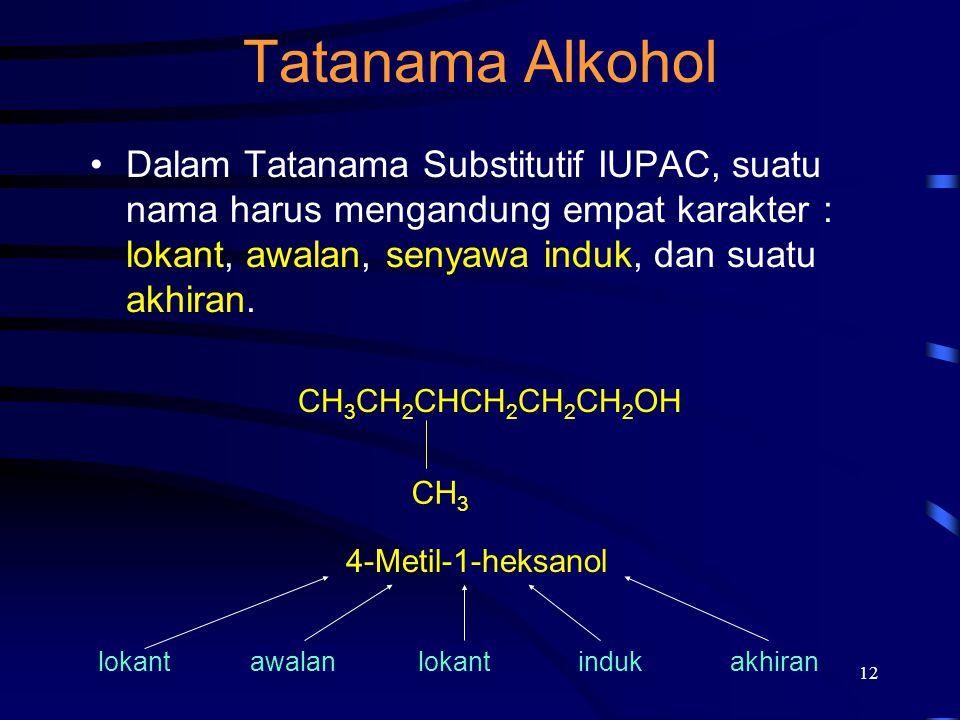Tatanama Alkohol Dalam Tatanama Substitutif IUPAC, suatu nama harus mengandung empat karakter : lokant, awalan, senyawa induk, dan suatu akhiran.