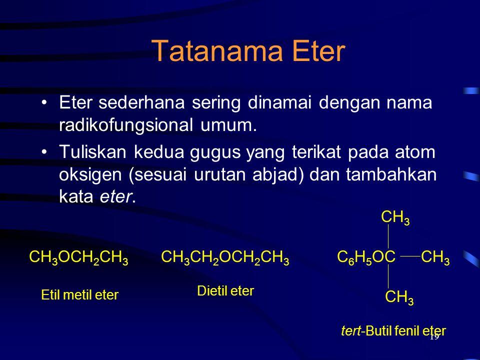 Tatanama Eter Eter sederhana sering dinamai dengan nama radikofungsional umum.
