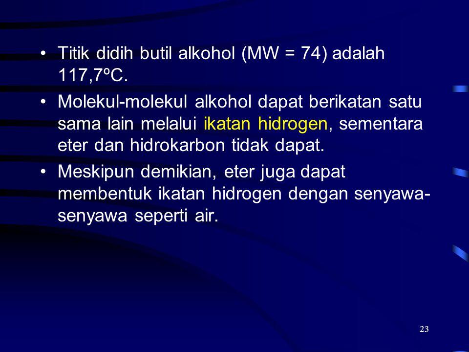 Titik didih butil alkohol (MW = 74) adalah 117,7ºC.