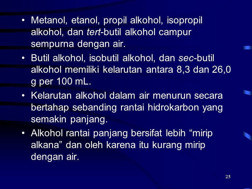 Metanol, etanol, propil alkohol, isopropil alkohol, dan tert-butil alkohol campur sempurna dengan air.
