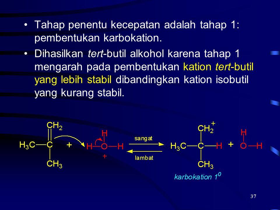 Tahap penentu kecepatan adalah tahap 1: pembentukan karbokation.